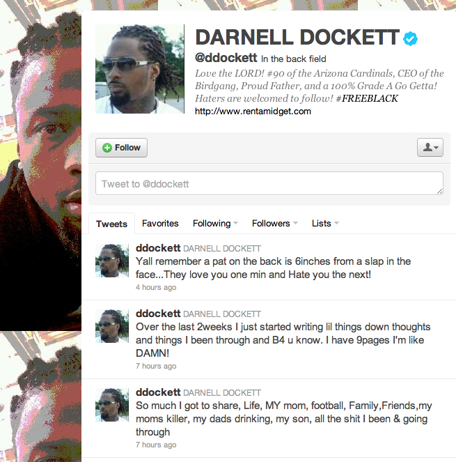 Twitter profile of Darnell Dockett