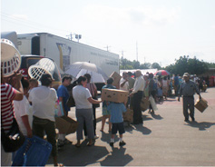 Residents lined up to receive food donations